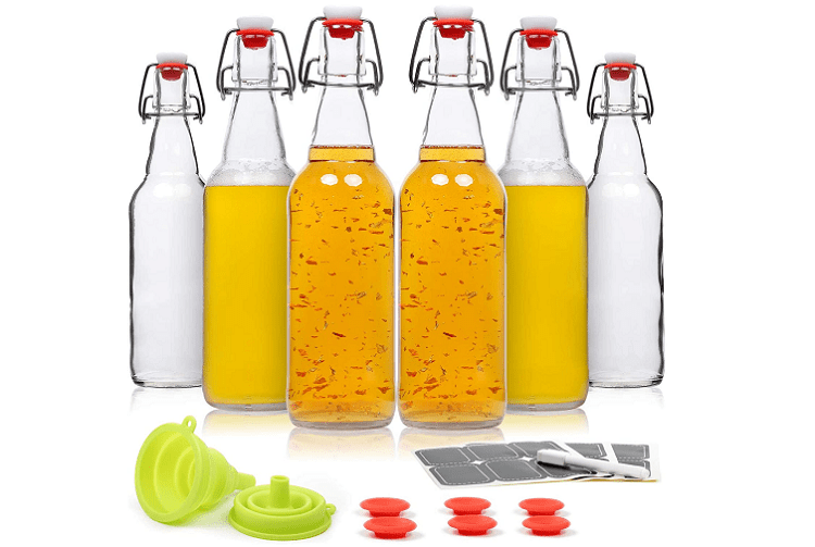 WILLDAN Swing Top Glass Bottles, set of 6