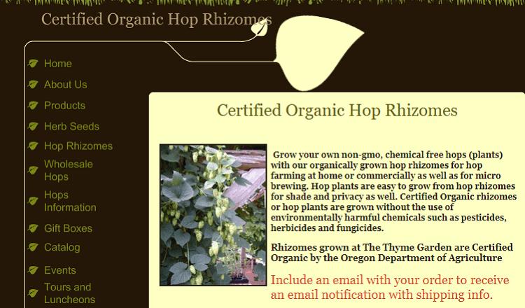 Thyme Garden Organic Hop Rhizomes